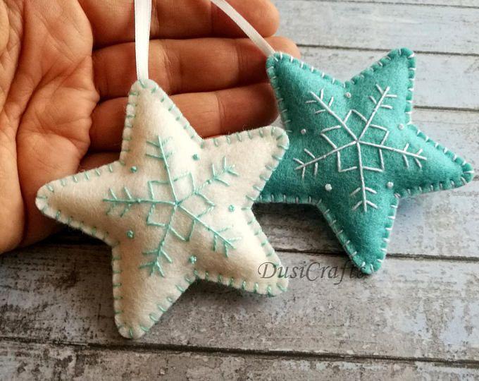 Blue White Felt Christmas decoration, Felt Christmas star ornaments, blue star ornament, white star ornament, snowflake embroider ornament