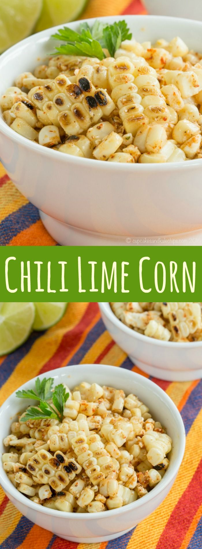 Chili Lime Corn - a simple summer side dish recipe inspired by a dish from a Bobby Flay restaurant that's just a little smoky and spicy. Gluten free and vegetarian. | cupcakesandkalechips.com