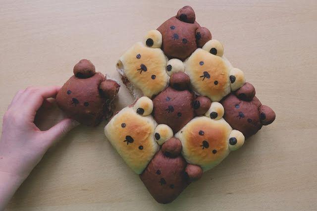 Mlsný králík z rýžového těsta: Dvoubarevné medvědí buchty plněné pudinkem