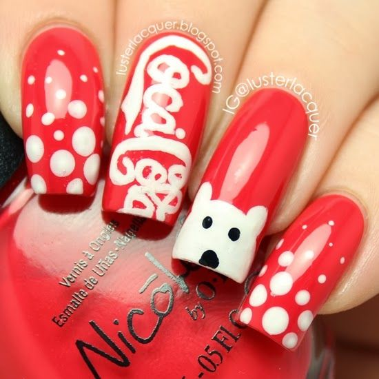 33 best coca cola nails images on pinterest hairstyles beauty holiday coca cola polar bear nails prinsesfo Gallery