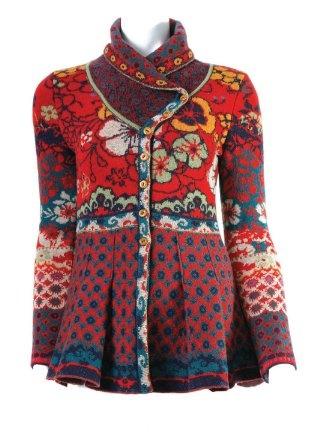 Ivko Jacquard Sweater Jacket - Shawl Collar - Flame Red $328
