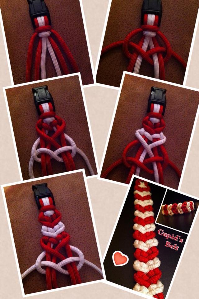 "Cupid's belt--by-- Dman McQ.....You will alternate the red cords after every white,,, for an 8"" bracelet, you will need three 6ft cords."