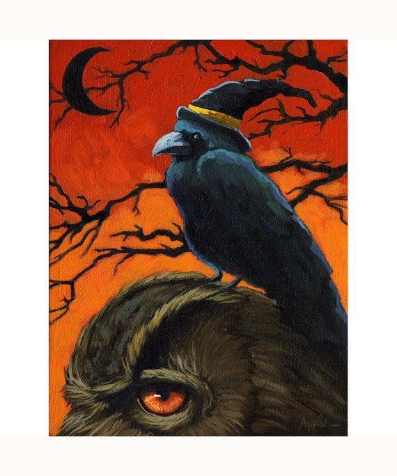 OWL and CROW Halloween black cat 8 x 10  print from by appleart,