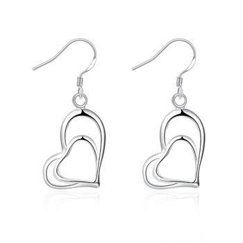 Косой моды двойные сердца серьги в форме сердца серебряные серьги E165