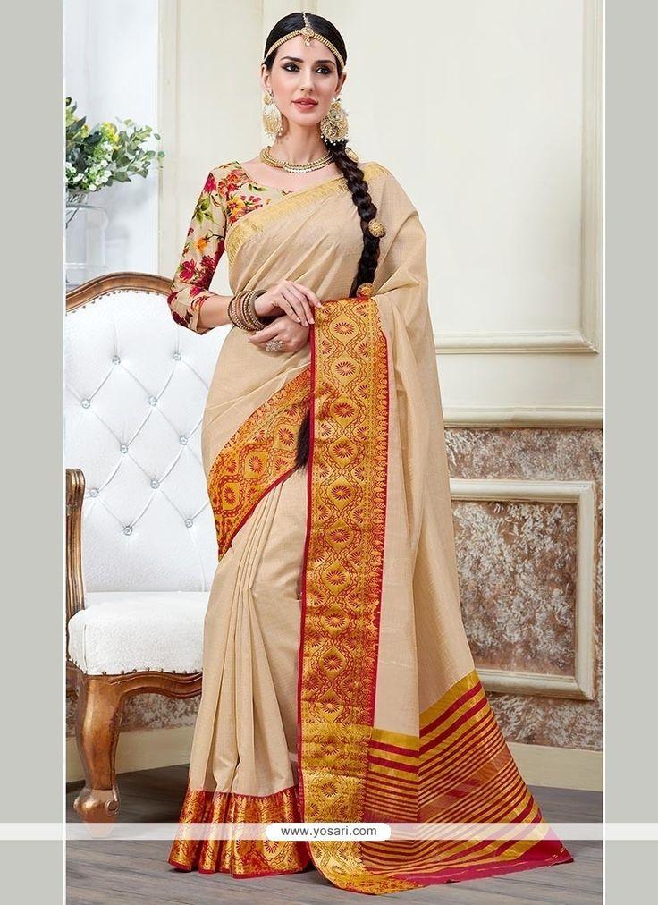Marvelous Tussar Silk Cream Trendy Saree Model: YOSAR8404