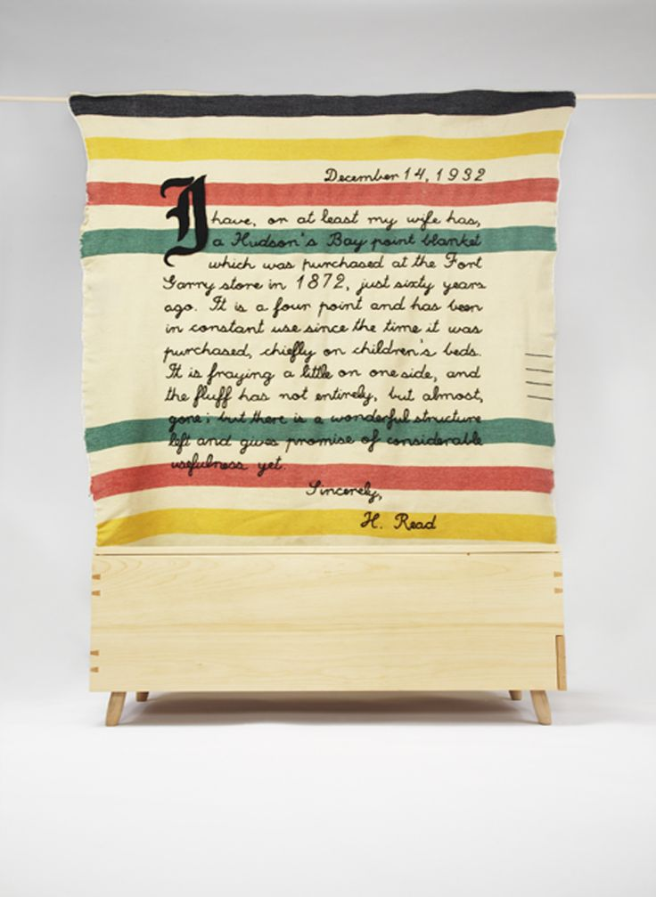 letter from a pioneer embroidered on a vintage hudson bay blanket  christna covello