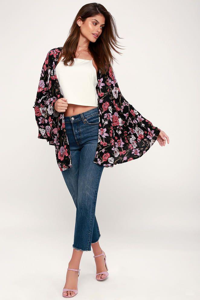 7fdc1d2fe1329 All Flored Black Floral Print Kimono Top in 2019 | Outfits | Kimono ...