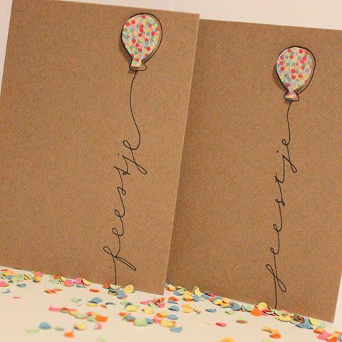 Feestje? Wij zorgen voor een leuke uitnodiging#feestje #kaarten #uitnodiging #ballon #confetti #handgemaakt #handmade #kaart #kraft #lievigheidje #bestelling #klant #klaar #diy