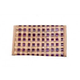 Purple Beige Cross Stitch Cane Wallet