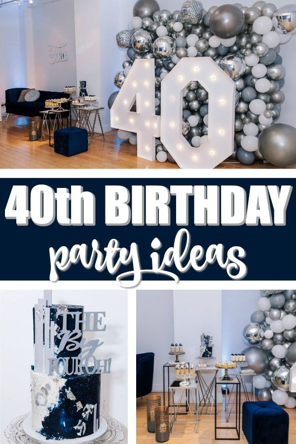 Navy Blue And Silver 40th Birthday Party 40th Birthday Party Men 40th Birthday Party Decorations 40th Birthday