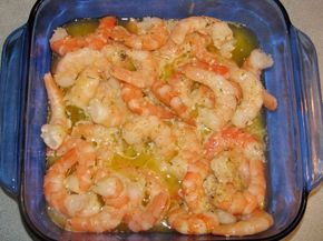 Easy baked shrimp scampi.  Use with pre-cooked shrimp or fresh.