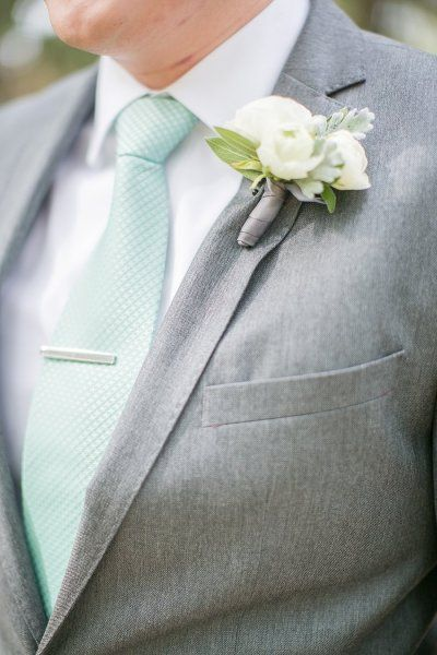 too big, but i like the grey ribbon.  #boutonniere Photography by sharonnicolephotography.com Event Design + Planning by yellowumbrellaevents.com/ Floral Design by cherrylanefloral.com/ Light Design by ildlighting.com  Read more - http://www.stylemepretty.com/2013/07/12/austin-wedding-from-sharon-nicole-photography/
