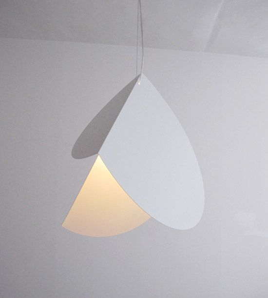 teruhiro yanagihara: chords pendant light 'chords' pendant light developed by japanese designer teruhiro yanagihara is a lampshade design which transforms basic 2D geometric elements like circles, into complex objects through one single bending. two steel discs, bent at a chord line, form this multifaceted lampshade and has a completely different appearance from every angle.