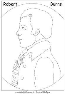 Robert Burns portrait colouring page