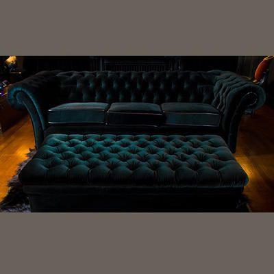 Velvet Chesterfield sofa and ottoman #DARK www.Chesterfields1780.com #chesterfields1780 #furniture #interiors #Chesterfields