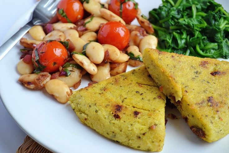 Pesto Polenta Triangles, Balsamic White Beans with Cherry Tomatoes + Basil - Coconut and Berries