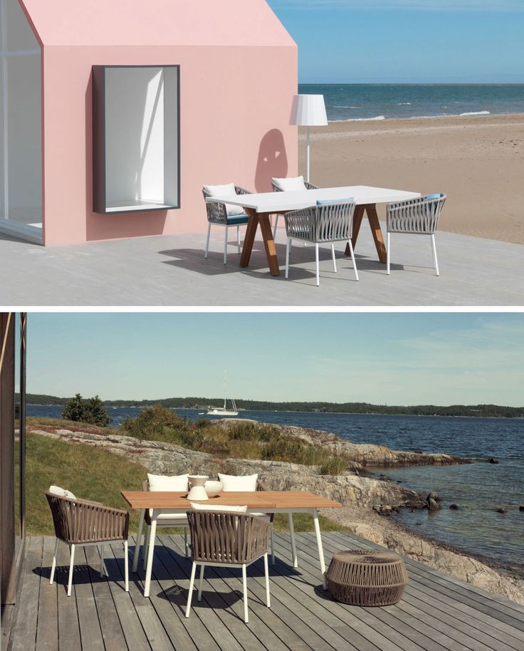 Sedie Bitta in alluminio verniciato e corda sintetica, produzione Kettal.  Design di Rodolfo Dordoni. #outdoor #garden #furniture