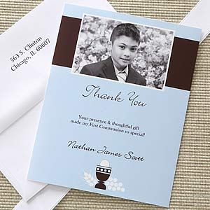 Bless This Child Photo Thank You Cards- Blue