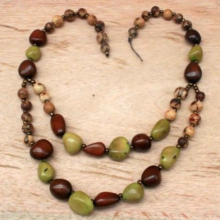 Earthy Green and Brown Beaded Bib Necklace #handmade #organic #chunky Pin it to Win it: http://www.theearthfriendlyfamily.com/pin-win-choice-item-artisans-andes/