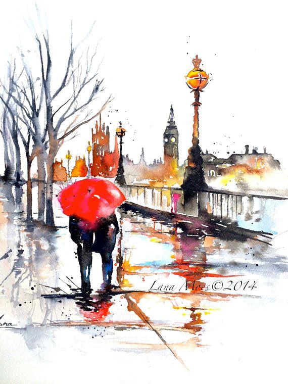 Arte de LondresSugerencias acuarela ilustración - impresión de Original acuarela paisaje urbano Romance - Lana - ilustración de Wanderlust