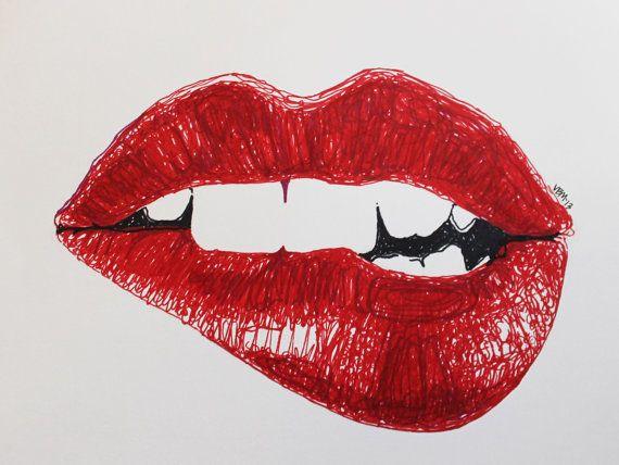 Archival print marker drawing Rouge Awakening 11 x 8.5 by ArtbyVBM, $19.00 #red #lips #lipbite