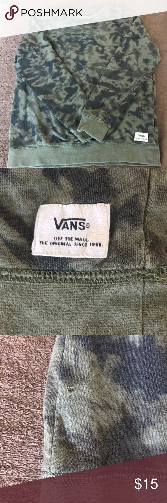 Vans camo pullover 😎 year round wear!  Vintage look and feel.  Small hole front right bottom near seam; light stain back right side—see pics.  Reflects in price. Vans Shirts Sweatshirts & Hoodies
