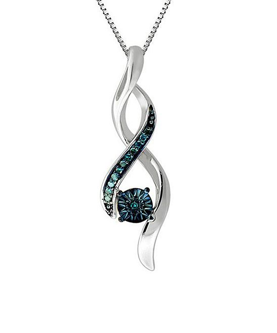 Blue Diamond & Sterling Silver Twist Pendant Necklace