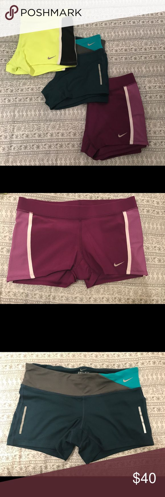 Nike Compression Shorts Bundle. Small and medium. New without tags. Yellow and Teal are size Medium, Purple are size small. Nike Shorts