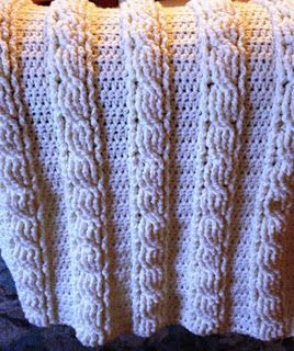 Cable knit crochet blanket