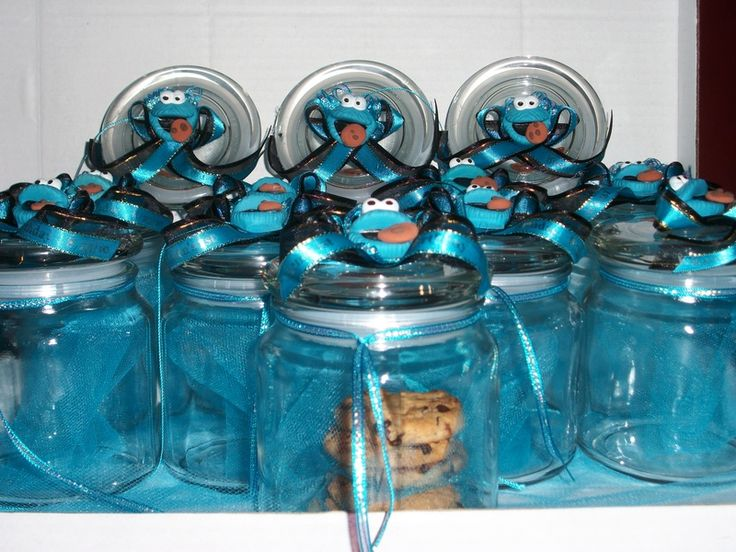 Cookie Monster Birthday Centerpieces | Cookie Monster Jars Decorated With Cookie  Monster Face And Hand Made