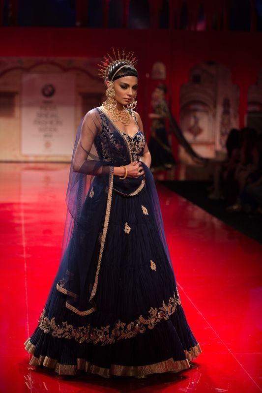 Dark royal blue lehnga by Suneet Varma. More here: http://www.indianweddingsite.com/bmw-india-bridal-fashion-week-ibfw-2014-suneet-varma/