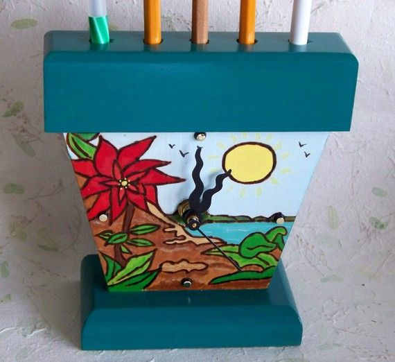 Tropical Desk Clock Pen and Pencil holder by RFClocksandLights