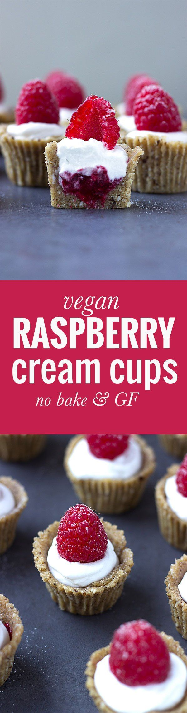 Vegan Raspberry Cream Cups! These no bake sweet treats are gluten free, grain free and refined sugar free! Get the recipe http://nutritionistmeetschef.com