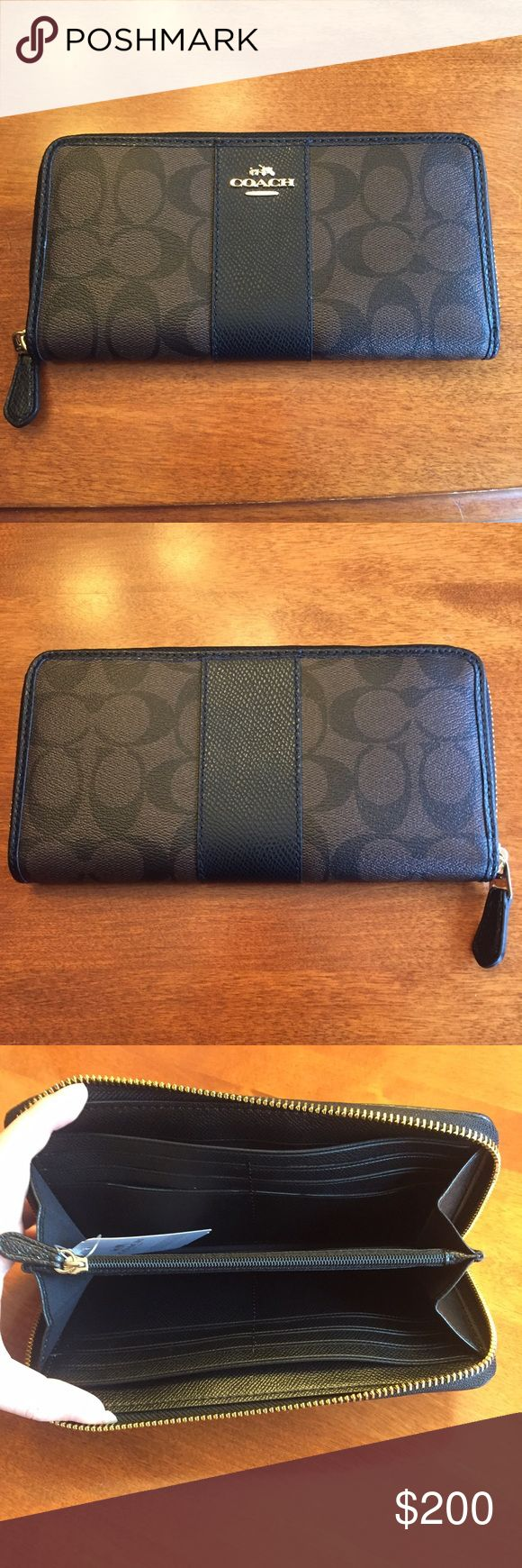 NWT COACH WALLET! NWT COACH WALLET! Authentic! Never used! Zip around wallet with dark brown canvas with C logo, black leather and gold hard ware! Lots of credit card slots, a zipper compartment and a place for dollars! Matching purse in separate listing! Beautiful piece that is super practical! Smoke free home! OPEN TO OFFERS Sorry no trades Coach Bags Wallets