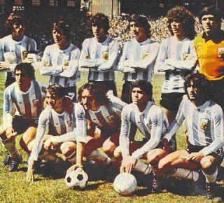 1979 Argentina, Scotland 1-Argentina 3, top, left to right : Daniel Passarella, Rene Houseman, Jorge Olguin, Hugo Villaverde, Alberto Tarantini, Ubaldo Fillol, Bottom, left to right : Americo Gallego, Juan Barbas, Leopoldo Luque, Diego Maradona, Jose Valencia