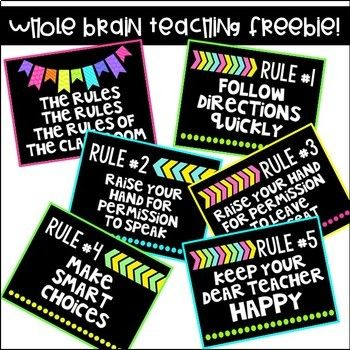 Neon Bright updated Whole Brain Teacher Rule set.  This set will match any colorful classroom. Discovered Whole Brain Teaching last year and I love this teaching style.  My class loves the chant modeled by this cute 1st grade classroom https://www.youtube.com/watch?v=YZQFErJn-EgPlease leave a comment and rate my very FIRST TPT Product.