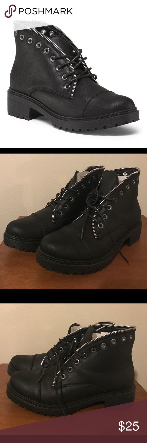 Combat boots Black Qupid combat boots.  New with box  Size available: 7, 8, 9 Qupid Shoes Combat & Moto Boots