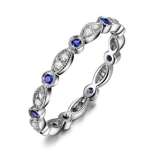 Art Deco Antique,Blue Sapphire Diamond Wedding Band Half Eternity Ring 14K White Gold,Stackable Anniversary Ring, http://www.amazon.com/dp/B011HJE7WO/ref=cm_sw_r_pi_awdm_JusYvb0NF3J6H