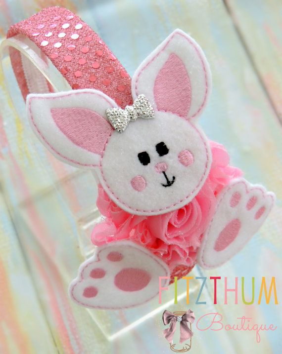 Bunny bow Bunny hair bow Felt bunny bow Easter by Fitzthumboutique