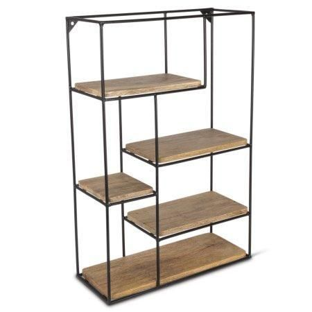 24 Inch Tiered Mango Shelving Unit With Metal Frame In 2020 Wall Storage Shelves Shelves