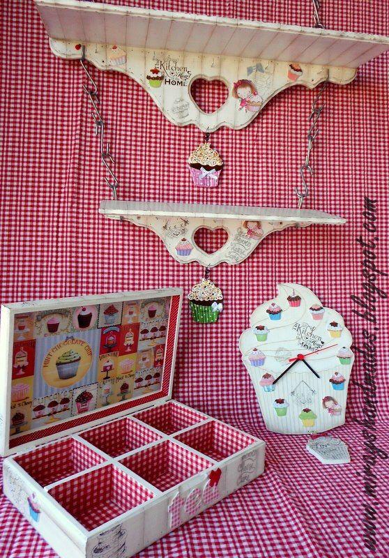 CUPCAKE KITCHEN SET - Hand Paint (This is Originally made by Mirayshandmades - Miray Yildizli Taskiran From Turkey) mirayshandmades@gmail.com