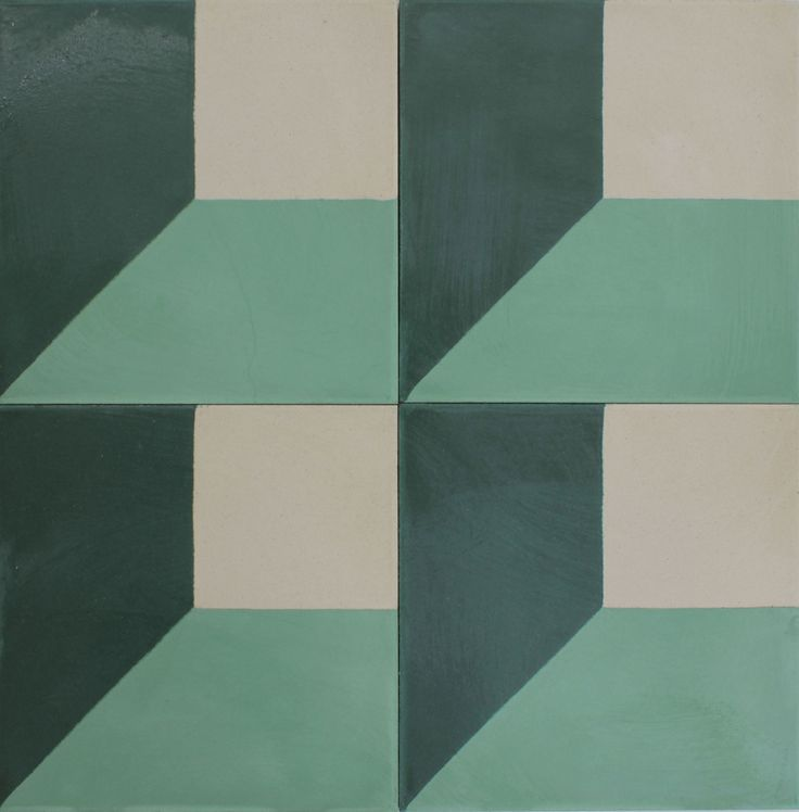 Concrete floor tiles in a groovy graphic pattern.