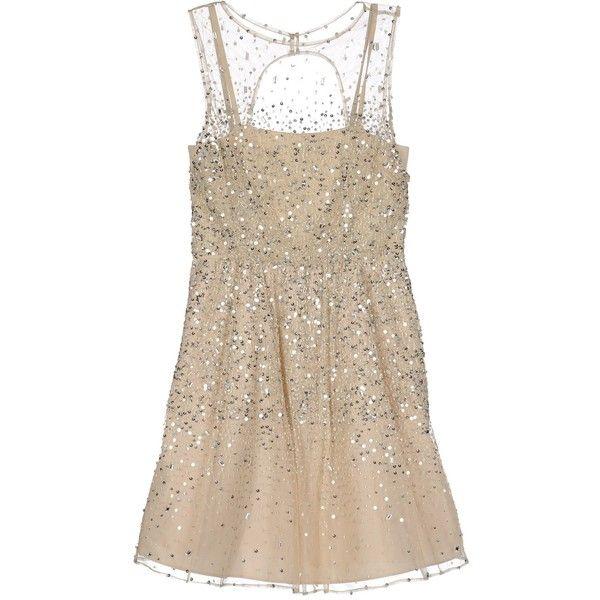 I'd wear over leggings or jean legging pants. ALICE+OLIVIA bejeweled embellished Sheer overlay nude Short dress ($368) ❤ liked on Polyvore