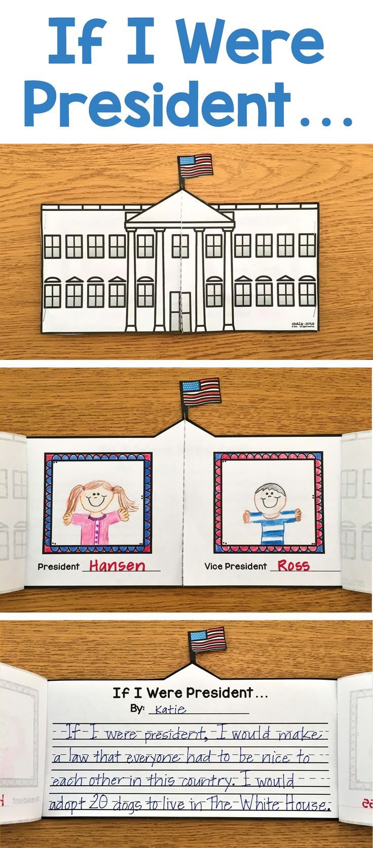 """This fun writing activity is great to use any time of the year, but works especially well during election season or for President's Day in February. It is fun to have your children write about and share with the class what they would do if they were president! I have provided two different options for this writing prompt for you to choose from: A White House craftivity book or a """"If I Were President"""" class book."""