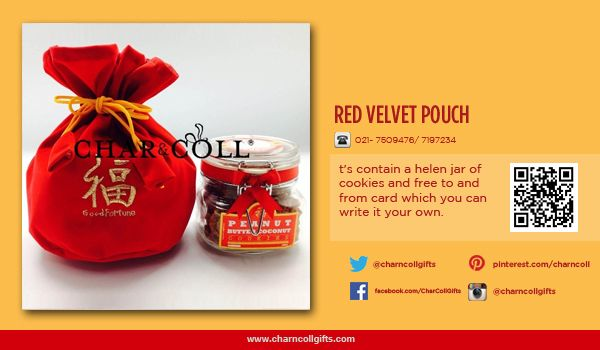 RED VELVET POUCH |  Celebrate the Chinese New Year! Share the proesperity and happiness | Order now : www.charncollgiftS.com | 021-7509476 / 021-7197234 #ChineseNewYearGifts #ChineseNewYear