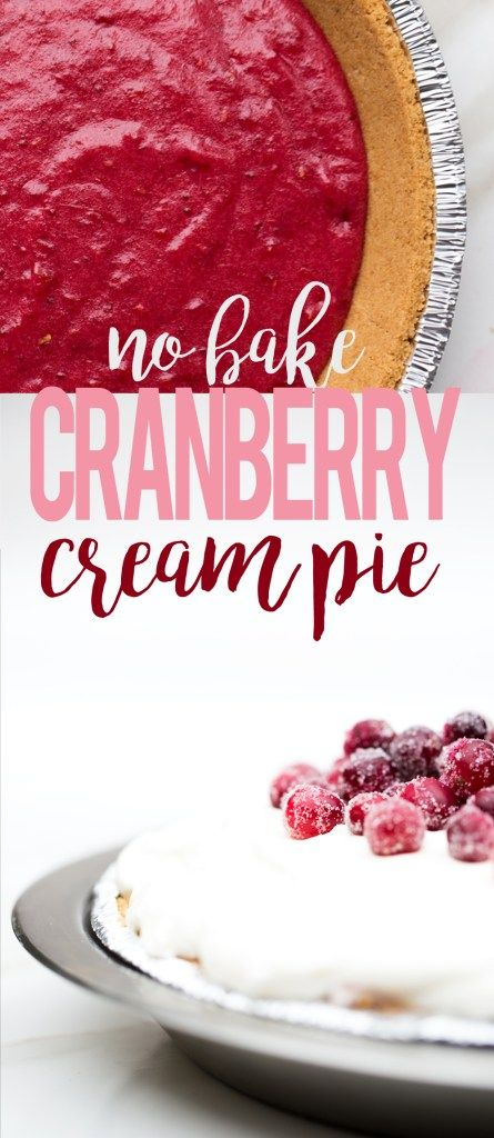 No Bake Cranberry Cream Pie fresh cranberry pie with layers of no bake cheesecake, whipped cream and sugar frosted cranberries recipe easy cream pie #ad