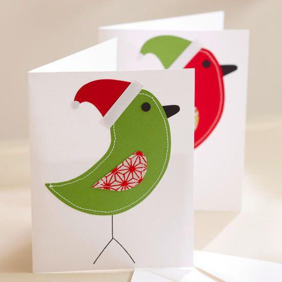 Homemade Christmas Bird Card