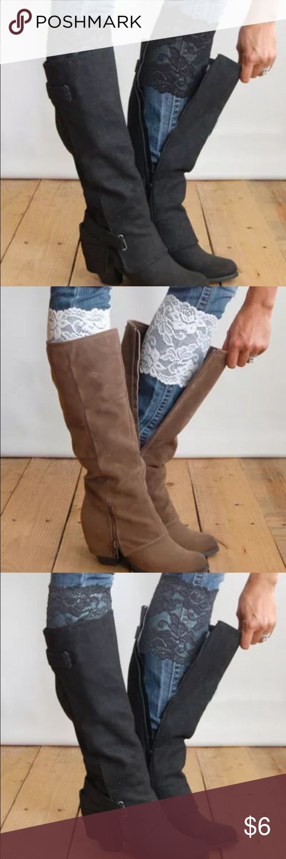 COMING SOON  Fall Lace Sleeves Absolutely adorable lace sleeves for just under your boots! Super cute and stylish for fall, they add the extra oomph to any outfit. 2 for $10 one for $6!  sohocarter Accessories Hosiery & Socks