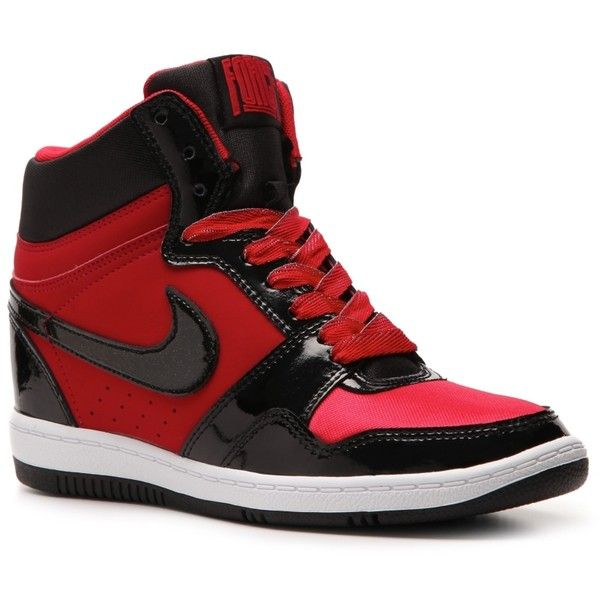 Nike Force Sky High Wedge Sneaker - Womens ($75) ❤ liked on Polyvore featuring shoes, sneakers, trainers, women, nike, nike footwear, nike trainers, wedge sneakers and nike sneakers