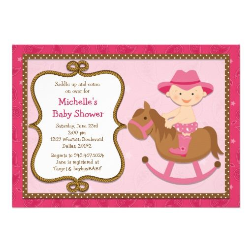 Western Baby Shower Invitation Cowgirl